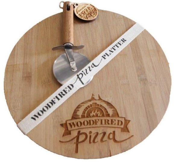 Picture of WOOD PIZZA SERVER WITH CUTTING WEEL