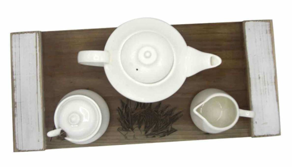 Picture of WHITE TEA SET ON WOODEN TRAY