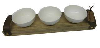 Picture of WOODEN TRAY WITH 3 WHITE BOWLS