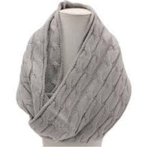 Picture of COSY CABLE KNITTED SCARVE - GREY