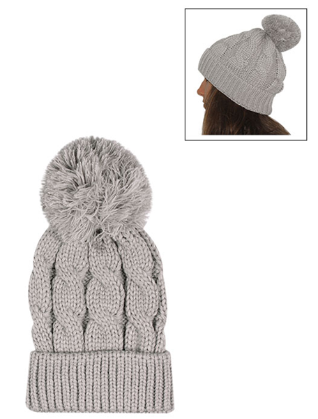 Picture of COSY CABLE KNITTED BEANIE - GREY