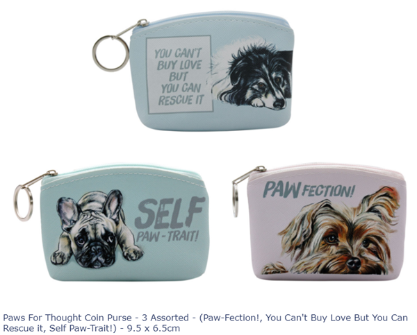 Picture of PAWS FOR THOUGHT COIN PURSE - DOGS ASSORTED