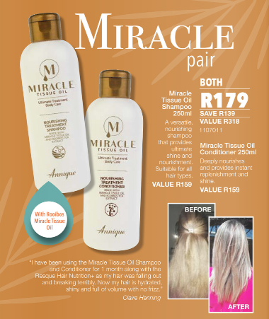 Picture of ANNIQUE  - MIRACLE TISSUE OIL - SHAMPOO & CONDITIONER COMBO